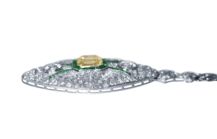 Art Deco, Platinum, Fancy Color Diamond, Diamond and Emerald Pendant-Necklace/Brooch Combination - Image #4
