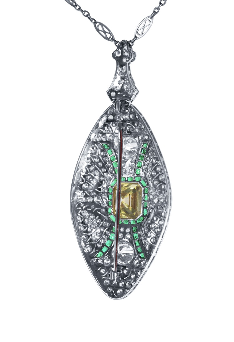 Art Deco, Platinum, Fancy Color Diamond, Diamond and Emerald Pendant-Necklace/Brooch Combination - Image #5
