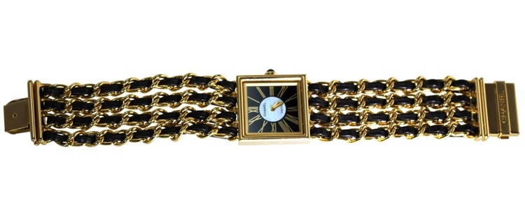 18 Karat Gold, Mother-of-Pearl, Enamel and Leather Wristwatch, Chanel, Paris - Image #3