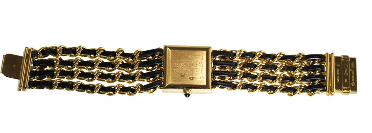 18 Karat Gold, Mother-of-Pearl, Enamel and Leather Wristwatch, Chanel, Paris - Image #4