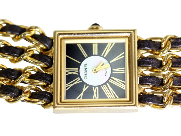 18 Karat Gold, Mother-of-Pearl, Enamel and Leather Wristwatch, Chanel, Paris - Image #5