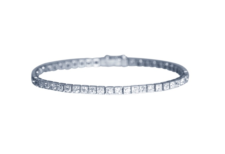Art Deco Platinum and Diamond Straightline Bracelet by Cartier, Paris, circa 1920