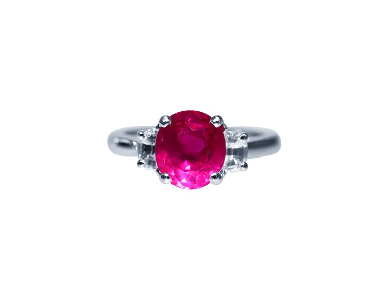 Platinum, Ruby and Diamond Ring - Image #1