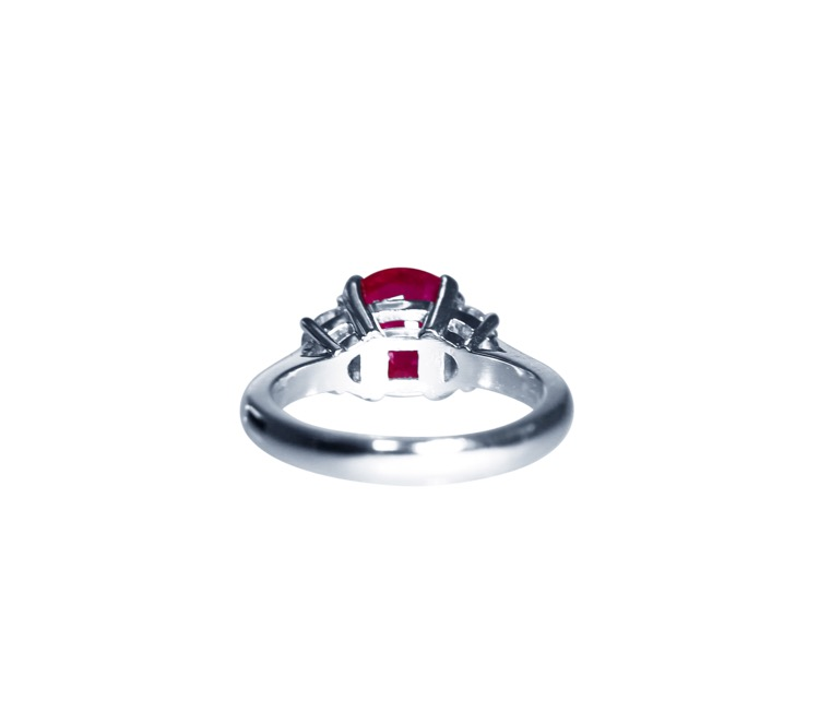 Platinum, Ruby and Diamond Ring - Image #4