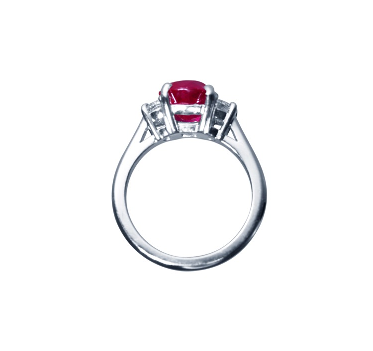 Platinum, Ruby and Diamond Ring - Image #5