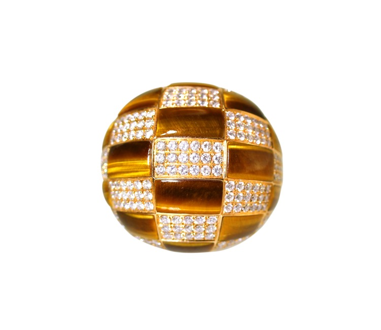 18 Karat Gold, Tiger-eye and Diamond Ring