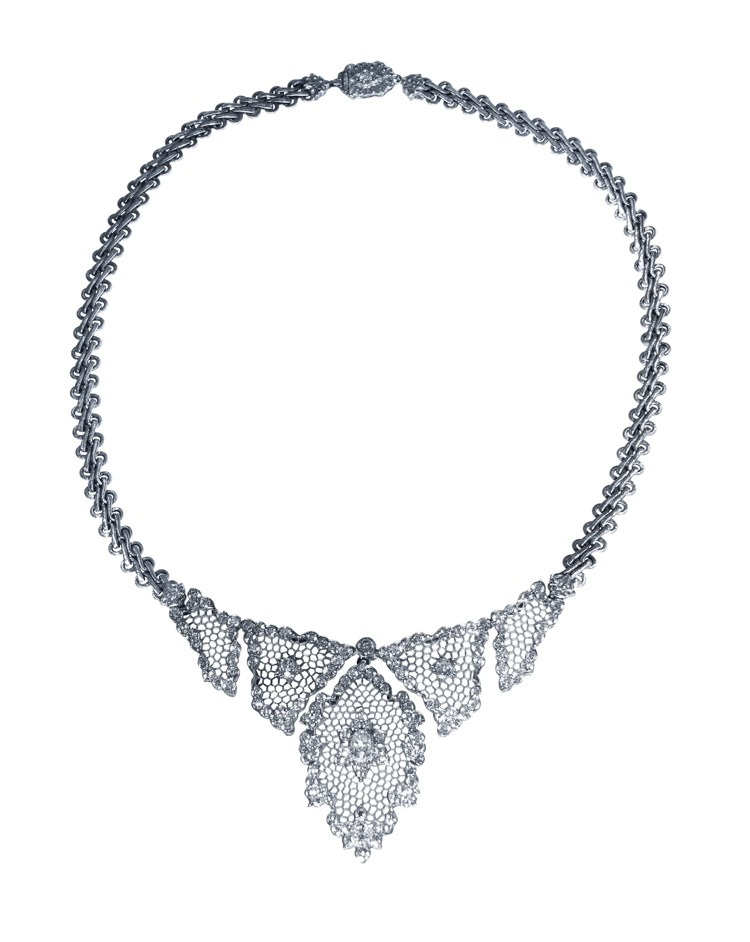 18 Karat White Gold and Diamond Tulle Necklace by Buccellati, Italy