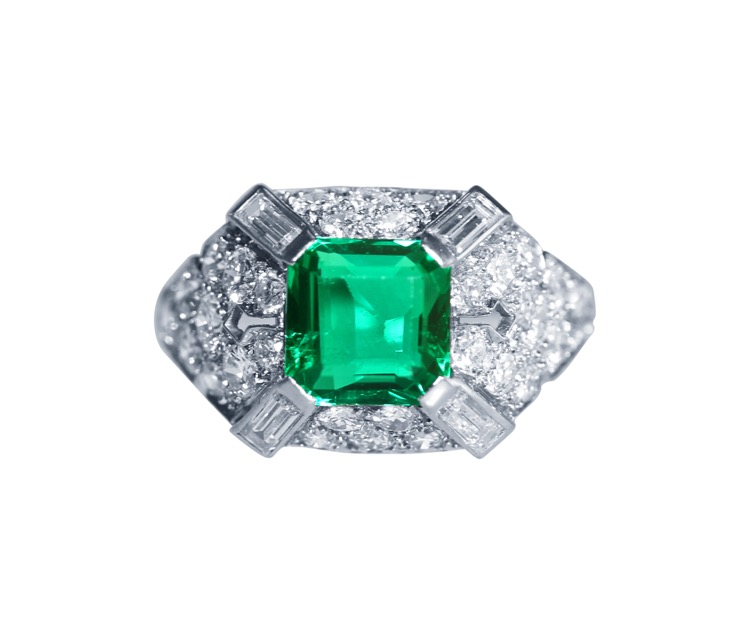 Art Deco Platinum, Emerald and Diamond Ring