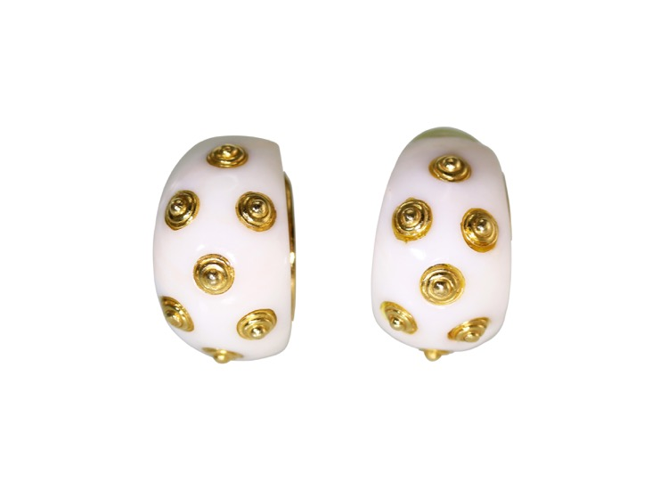 Pair of 18 Karat Gold and White Coral Earclips by Van Cleef & Arpels, New York, circa 1970