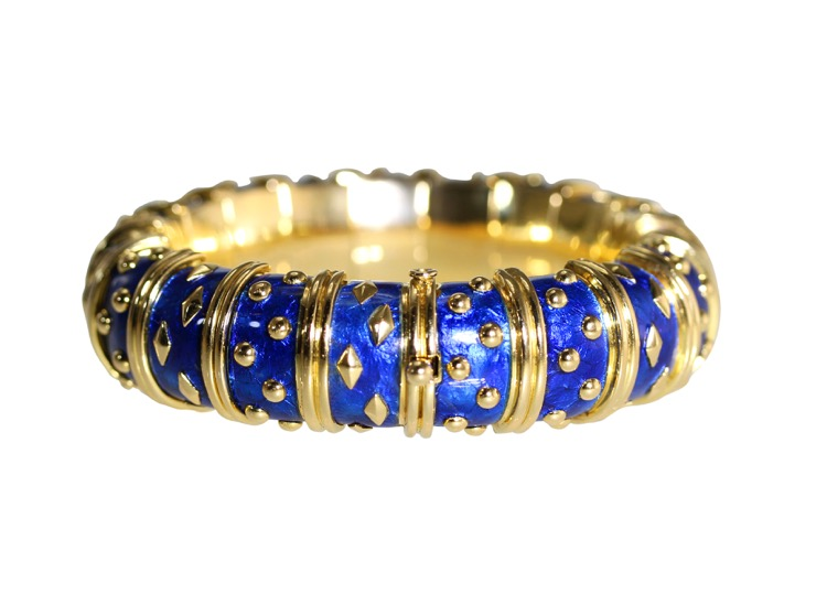 Gold and Blue Enamel Bangle by Schlumberger - Image #2