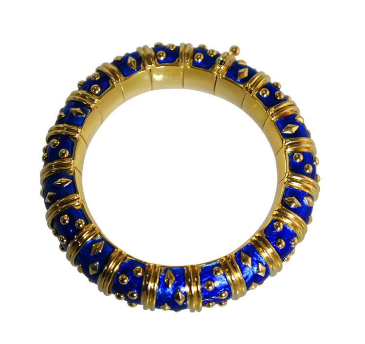 Gold and Blue Enamel Bangle by Schlumberger - Image #3