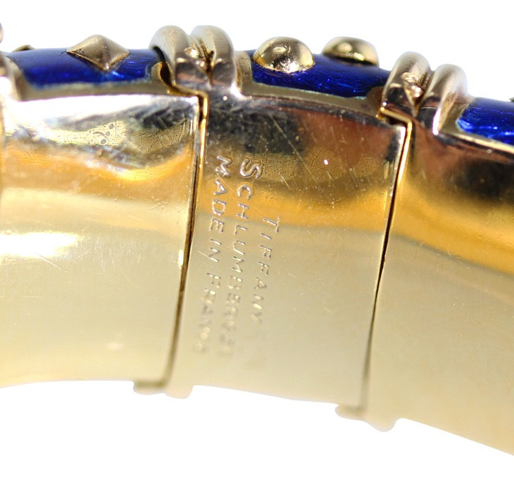 Gold and Blue Enamel Bangle by Schlumberger - Image #4