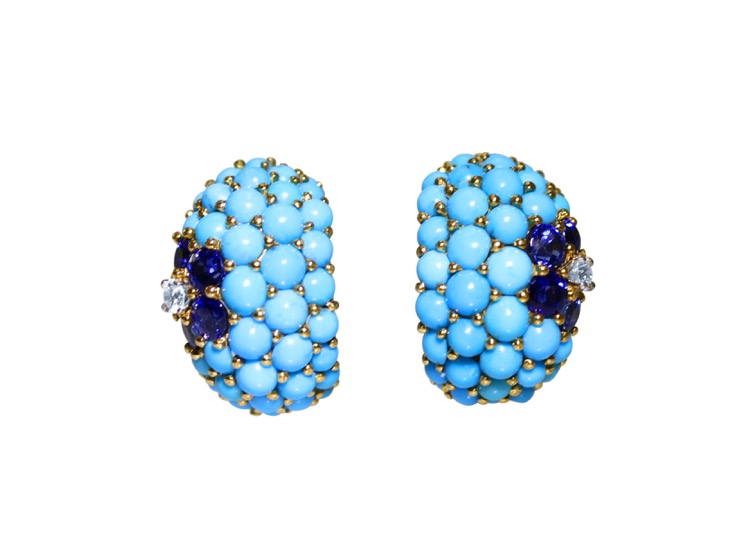 Pair of 18 Karat Gold, Turquoise, Sapphire and Diamond Earclips by Carvin French