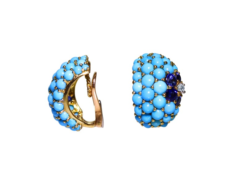 Pair of 18 Karat Gold, Turquoise, Sapphire and Diamond Earclips by Carvin French - Image #2