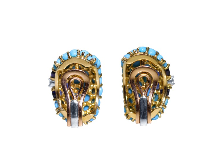 Pair of 18 Karat Gold, Turquoise, Sapphire and Diamond Earclips by Carvin French - Image #3