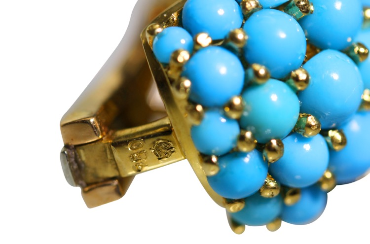 Pair of 18 Karat Gold, Turquoise, Sapphire and Diamond Earclips by Carvin French - Image #4