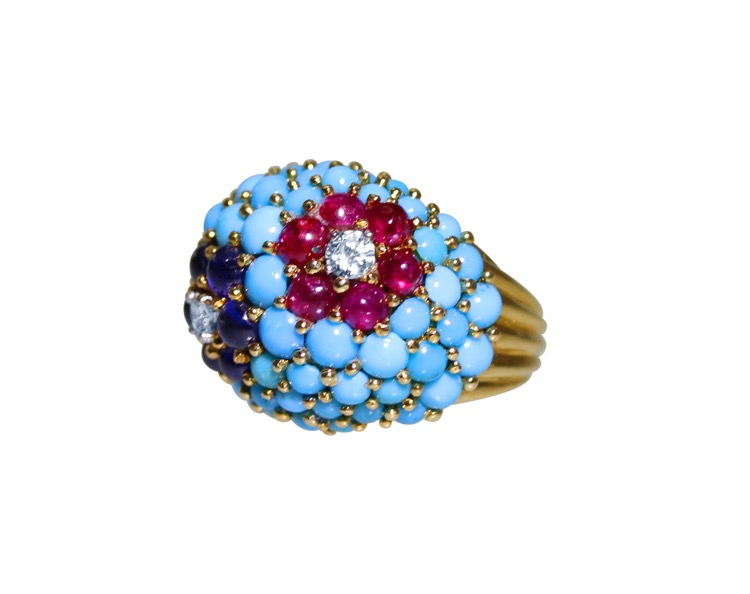 18 Karat Gold, Turquoise, Ruby, Sapphire and Diamond Ring by Carvin French - Image #2