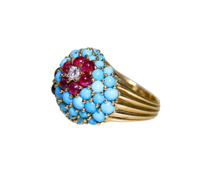 18 Karat Gold, Turquoise, Ruby, Sapphire and Diamond Ring by Carvin French - Image #3