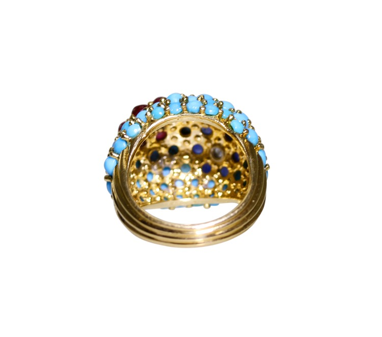 18 Karat Gold, Turquoise, Ruby, Sapphire and Diamond Ring by Carvin French - Image #4