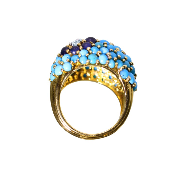 18 Karat Gold, Turquoise, Ruby, Sapphire and Diamond Ring by Carvin French - Image #5