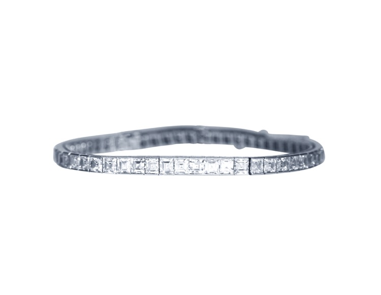 Platinum and Diamond Straightline Bracelet by Cartier