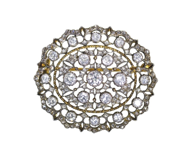 18 Karat Gold, Silver and Diamond Brooch by Mario Buccellati, circa 1930