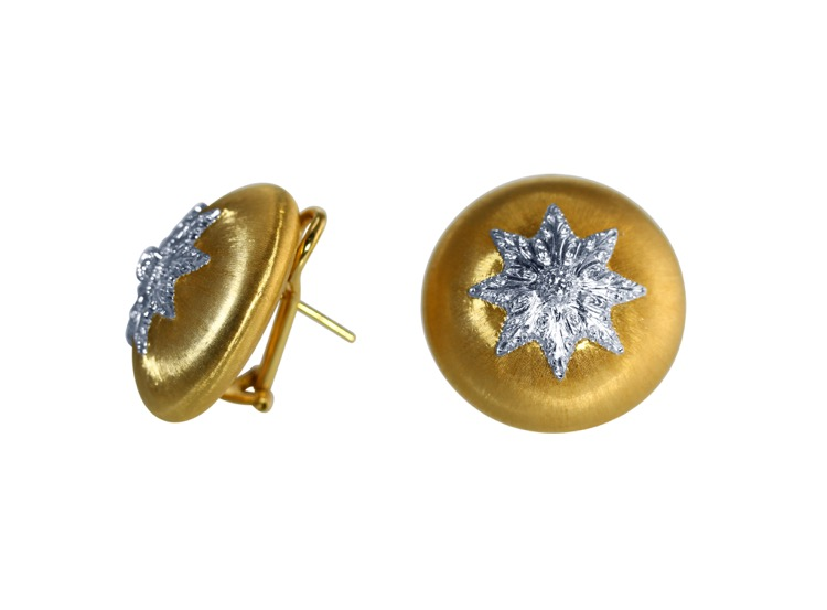 Pair of 18 Karat Gold and Diamond Earclips by Buccellati, Italy - Image #2