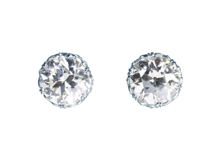 Pair of 18 Karat White Gold and Diamond Stud Earrings