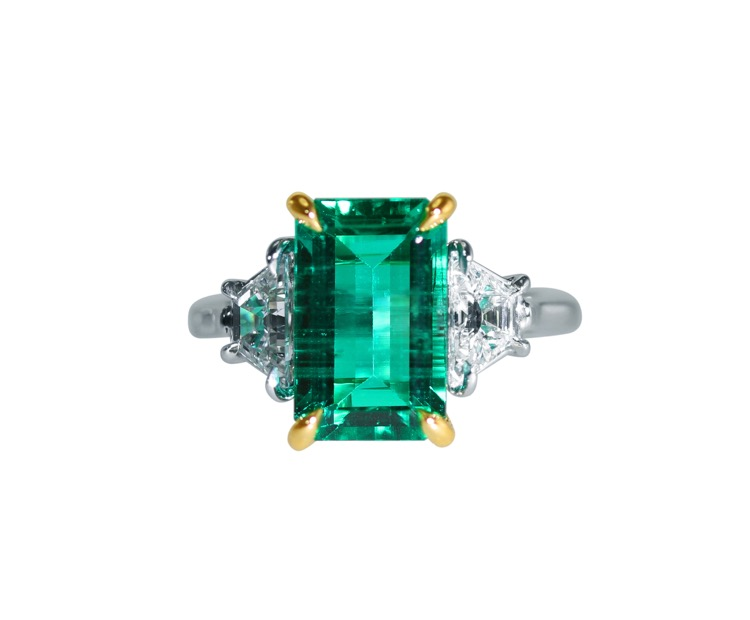 Platinum, 18 Karat Gold, Emerald and Diamond Ring by Aletto