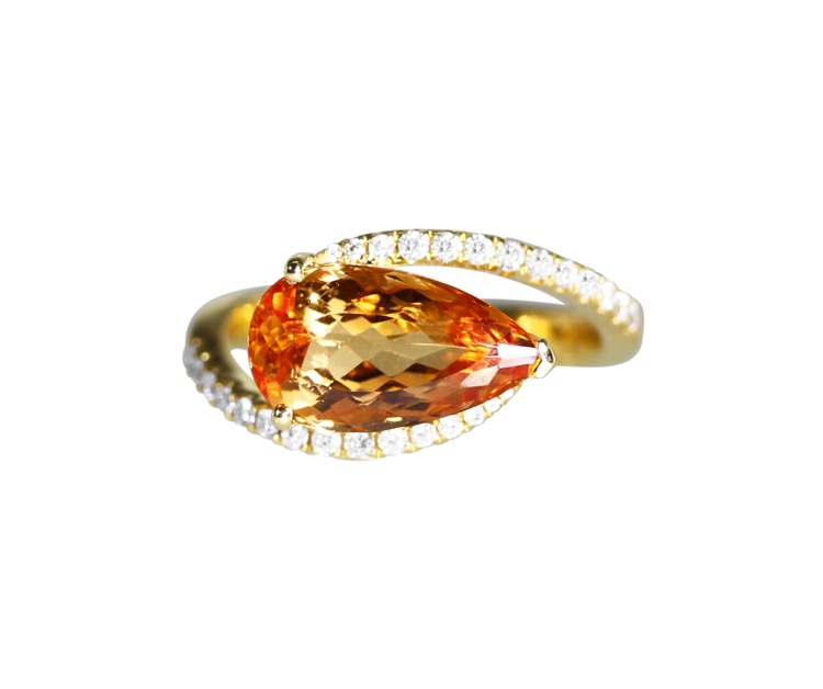 18 Karat Gold, Topaz and Diamond Ring