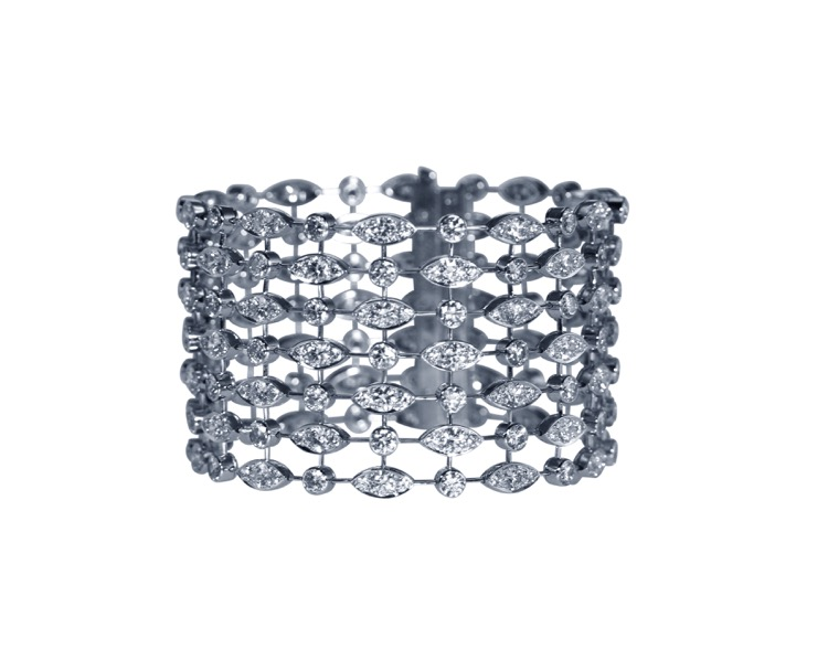 18 Karat White Gold and Diamond Bracelet by Cartier, France