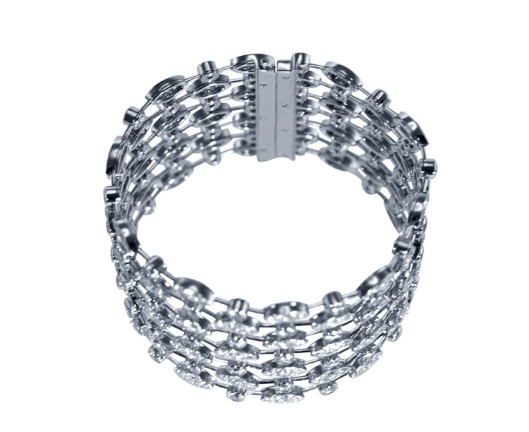 18 Karat White Gold and Diamond Bracelet by Cartier, France - Image #4
