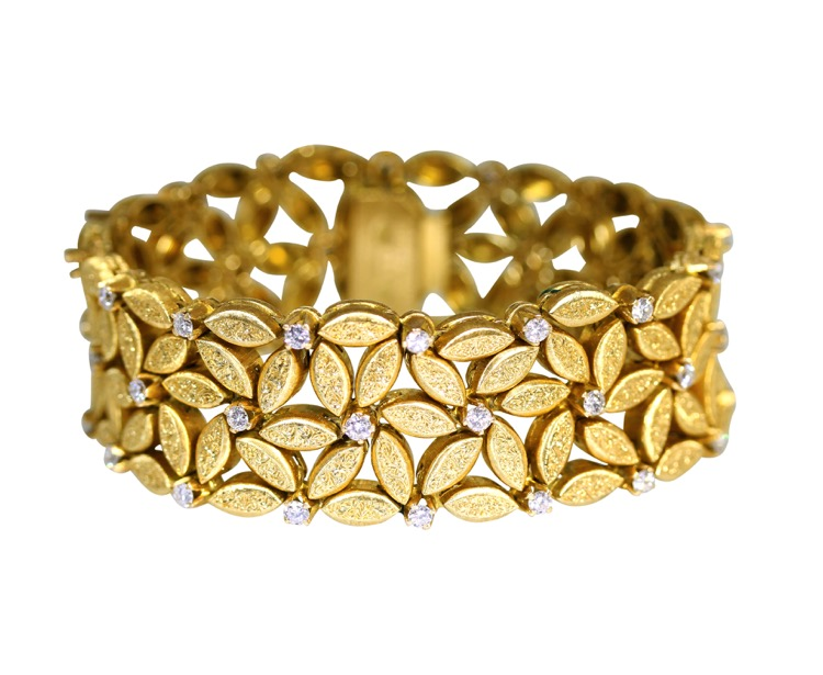 18 Karat Gold and Diamond Bracelet by Buccellati, Italy, circa 1960