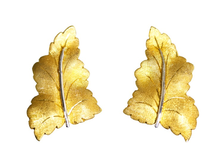Pair of 18 Karat White and Yellow Gold Earclips by Buccellati, Italy