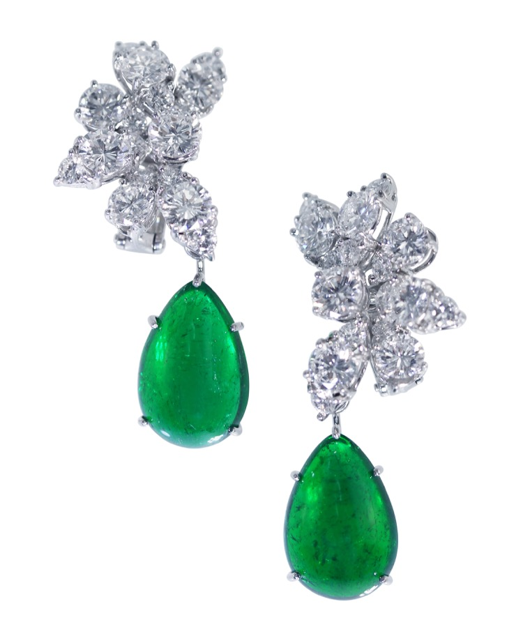 Pair of Platinum, Emerald and Diamond Earclips by Van Cleef & Arpels, Circa 1966