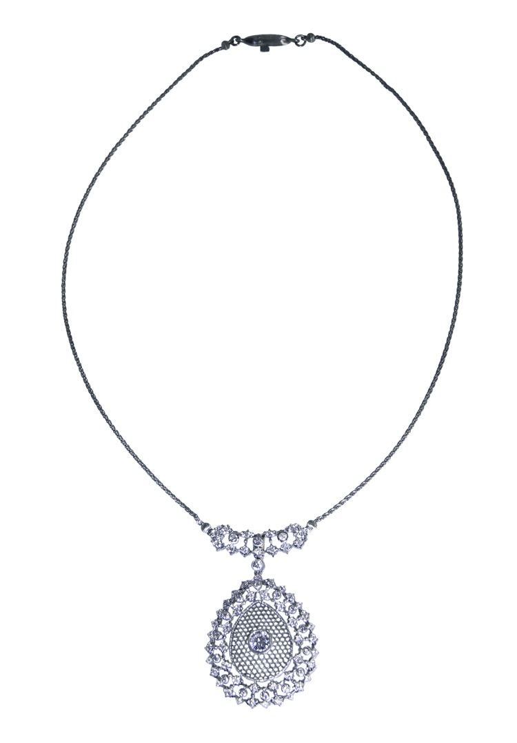 18 Karat White Gold and Diamond Pendant Necklace by Buccellati, Italy