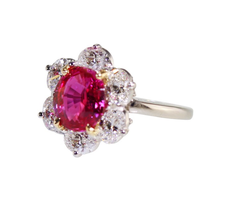 Platinum, 18 Karat Gold, Pink Sapphire and Diamond Ring by Oscar Heyman