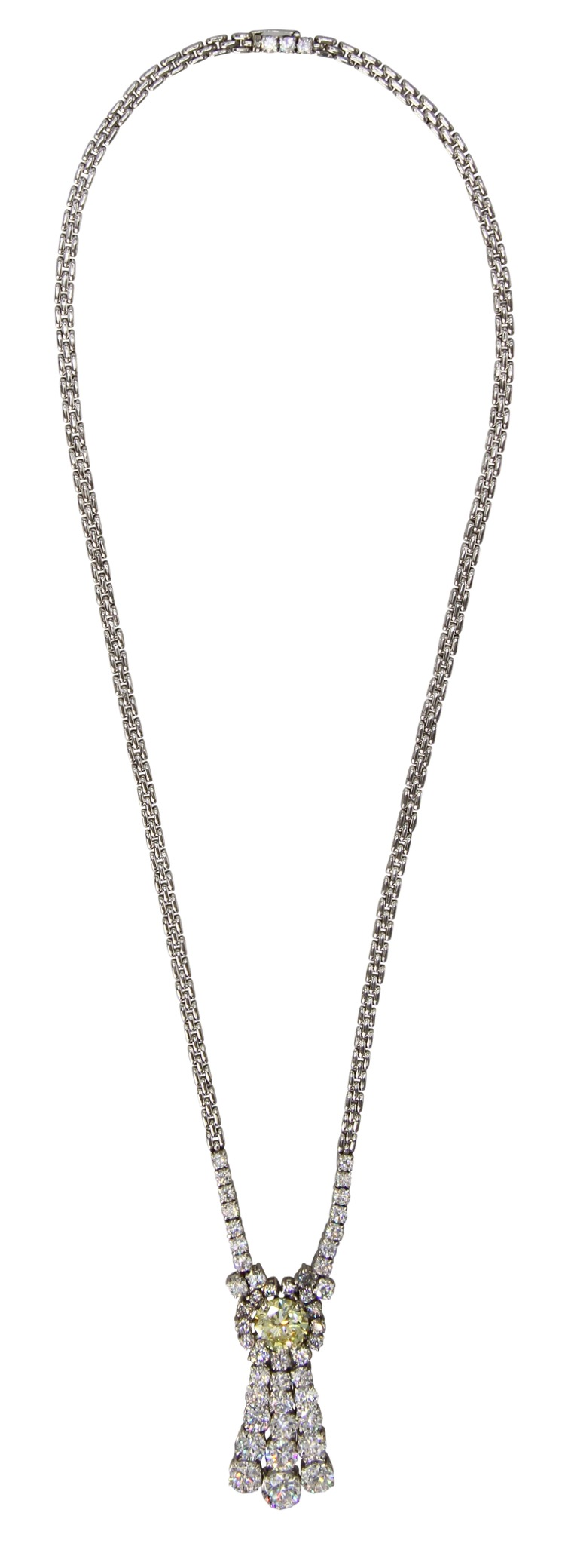Platinum Diamond and Colored Diamond Necklace