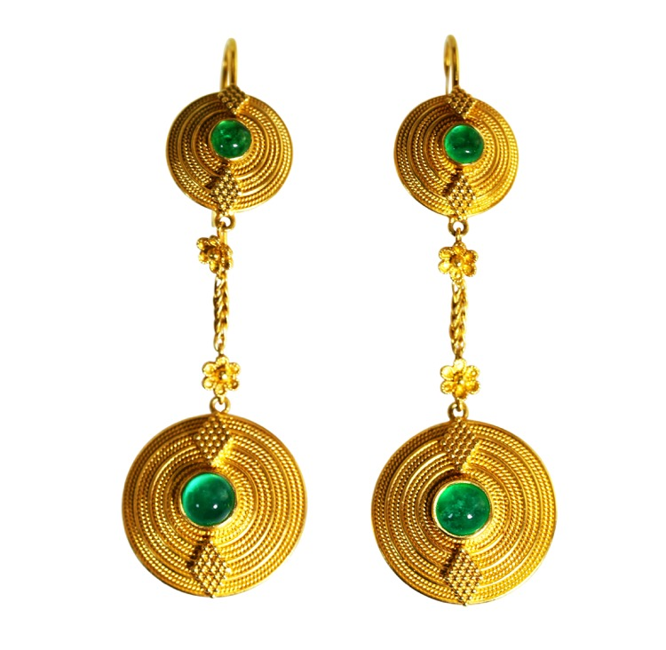 Pair 18 Karat Gold and Emerald Pendant-Earrings by Lalaounis, Greece
