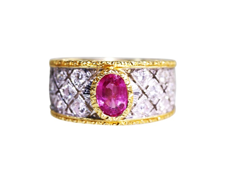 18 Karat Two-Tone Gold, Pink Sapphire and Diamond Ring by Mario Buccellati, Italy, circa 1950