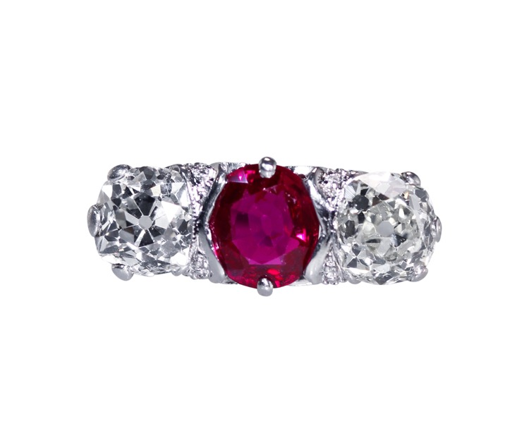 Edwardian Platinum, Ruby and Diamond Ring