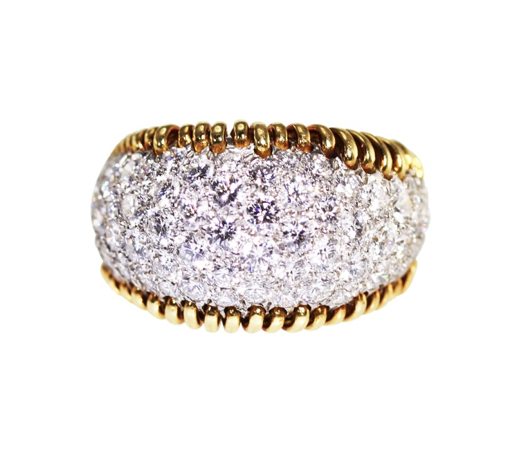 18 Karat Gold, Platinum and Diamond Ring by Schlumberger for Tiffany & Co.