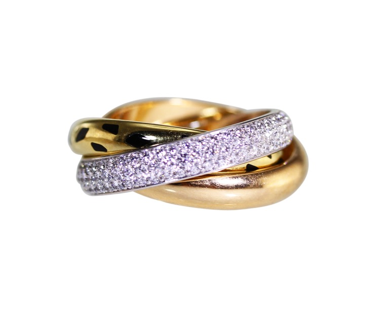 18 Karat  Tri-Tone Gold, Diamond and Enamel \