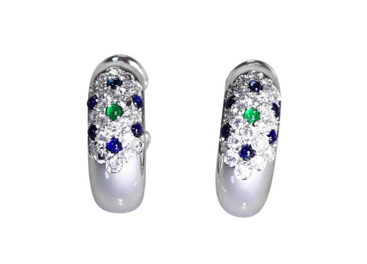 Pair of 18 Karat White Gold, Emerald, Sapphire and Diamond Earclips by Cartier
