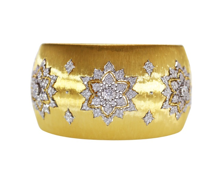18 Karat Two-Tone Gold and Diamond Cuff by Buccellati, Italy