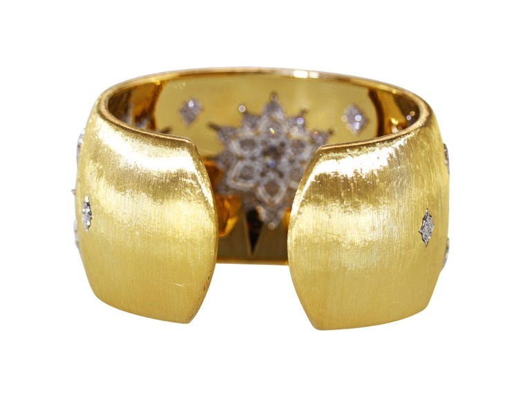 18 Karat Two-Tone Gold and Diamond Cuff by Buccellati, Italy - Image #3
