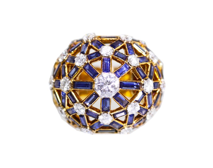 18 Karat Gold, Sapphire and Diamond Ring by Mellerio, Paris, circa 1960