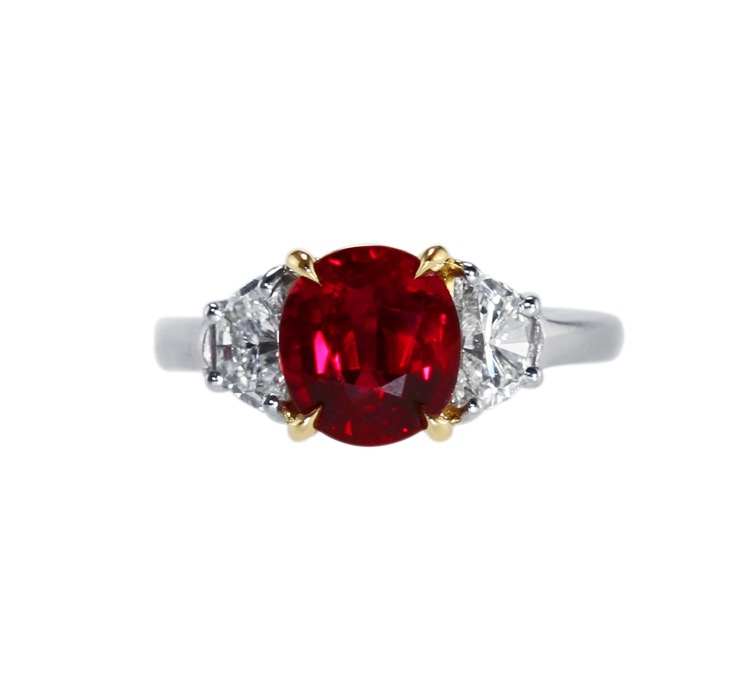 Platinum, 18 Karat Gold, Ruby and Diamond Ring