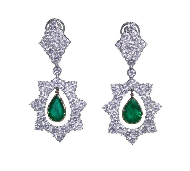 18 Karat Two-Tone Gold, Emerald and Diamond Pendant-Earclips by Buccellati, Italy