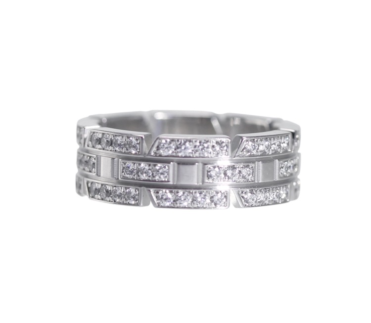 18 Karat White Gold and Diamond Ring by Cartier